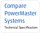 PowerMaster Compare to other system tech spec table